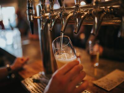 Cold beer served at pub